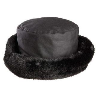 Olney Beth Black Wax & Fur Hat. Style R4389.