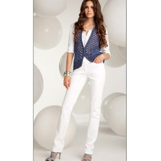 Michele Magic straight leg jeans in White.