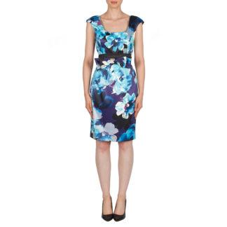 Joseph Ribkoff Blue Multi Print Dress Style 174642.