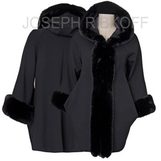 Joseph Ribkoff Black Fur Trim Coat Style 174370.
