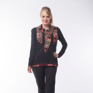 Orientique Black/Red Multi Print Top Style 52331.