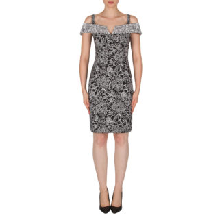 Joseph Ribkoff Black/White Pattern Dress Style 182526.