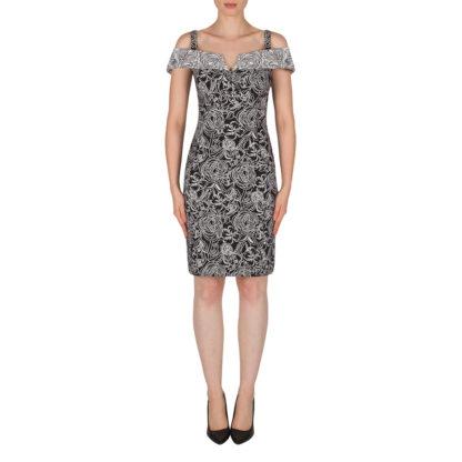 Joseph Ribkoff Black/White Pattern Dress Style 182526.