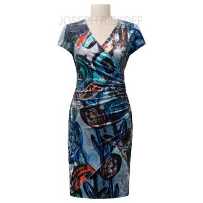 Joseph Ribkoff Blue Multi Dress Style 184679.