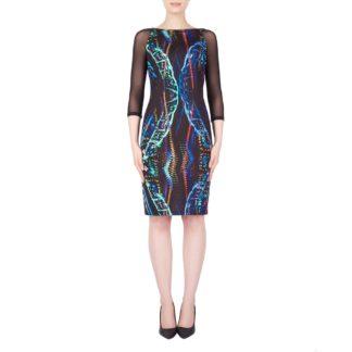Joseph Ribkoff Black Multi Dress Style 184708.