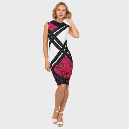 Joseph Ribkoff Black Multi Rose Dress Style 191709.