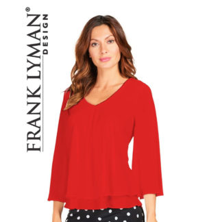 Frank Lyman Red Tunic Blouse Style 176335.