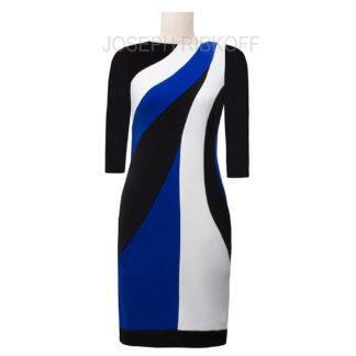 Joseph Ribkoff Black/Sapphire/Vanilla Dress Style 193003X.