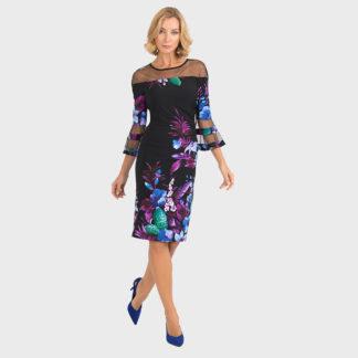 Joseph Ribkoff Black/Purple Multi Dress Style 193651.