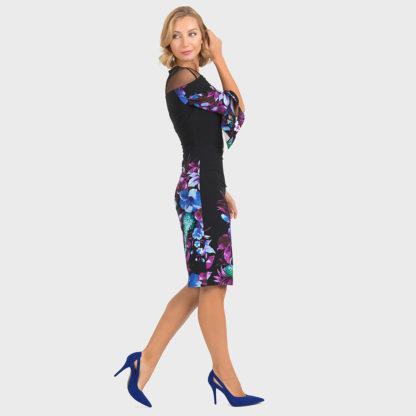 Joseph Ribkoff Black/Purple Multi Dress 193651.