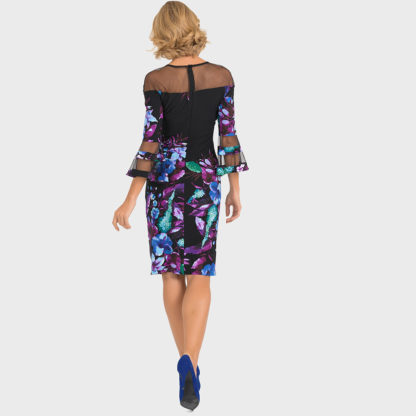 Joseph Ribkoff Black/Purple Multi Dress.