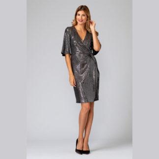 Joseph Ribkoff Black/Silver Sequin Dress Style 194541.