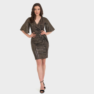 Joseph Ribkoff Black/Gold Sequin Dress Style 194541.