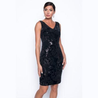 Frank Lyman Black Velvet Sequin Dress Style 199336.