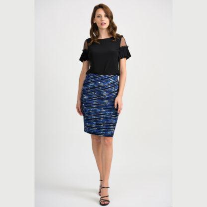Joseph Ribkoff Black/Blue Skirt Style 201271.