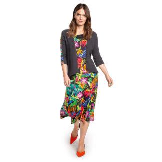 Doris Streich Black Multi Sleeveless Dress Style 634 253.