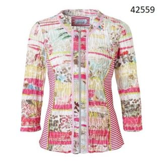 Just White Pink/Green Multi Shirt Jacket Style 42559.