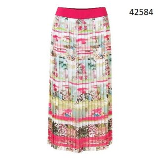 Just White Pink/Green Multi Skirt Style 42584.