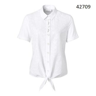 Just White Cotton Tie Blouse Style 42709.
